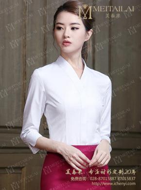 <b>成都春秋女士中袖V领衬衣定做</b>