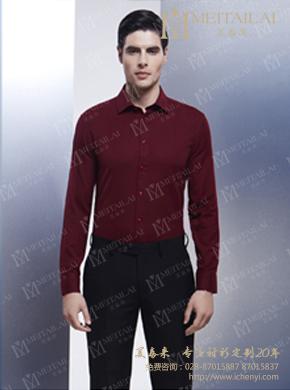 <b>男士春秋季深红色长袖衬衣</b>