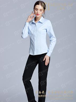 <b>蓝色v领修身衬衫</b>