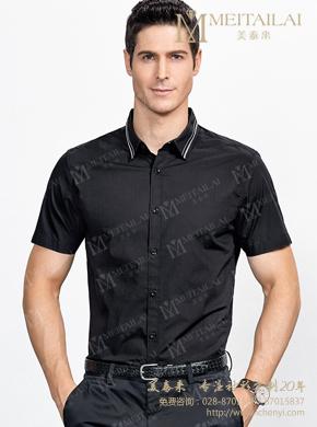 <b>男士黑色短袖衬衣</b>